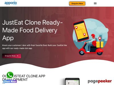 https://www.apporio.com/on-demand-clone-script/justeat-food-delivery-app/ website snapshot