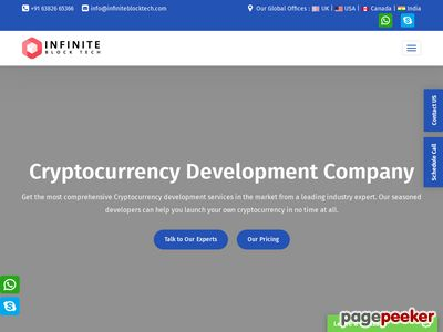 https://www.infiniteblocktech.com/cryptocurrency-development-company website snapshot