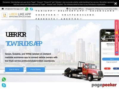 https://www.uberlikeapp.com/on-demand-tow-trucks-app website snapshot