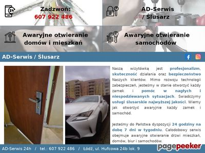 AD serwis awaryjne otwieranie zamków drzwi, ślusarz 24h