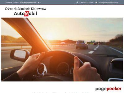 Nauka jazdy Toruń - szkoła jazdy AutoMobil