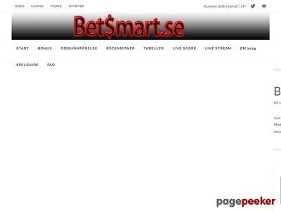 Betsmart.se - Spelbolag med sportsbetting odds och bonusar - http://www.betsmart.se