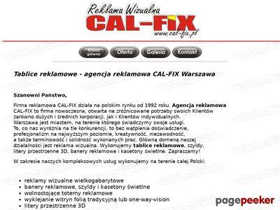Reklama wizualna Cal-Fix - tablice reklamowe Warszawa, Mazowiecka 39