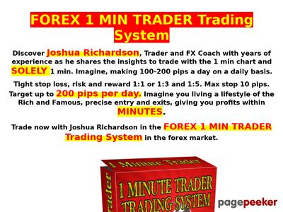 FOREX 1 MIN TRADER Trading System - World's first one minute profitable forex trader 1