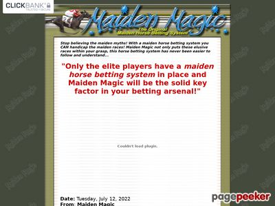 Maiden Magic- The Original Horse Betting System - Maiden Horse Betting System- Maiden Magic! 1