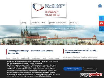 BOCZKOWSKA GRAŻYNA tłumacz czeskiego