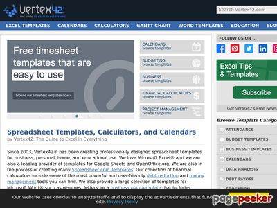 Vertex42 - Excel Templates, Calendars, Calculators and Spreadsheets 1