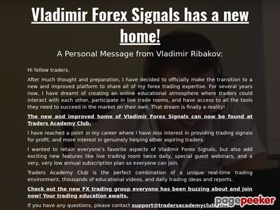 Forex Signals & Mentoring | About Vladimir's Forex Signals & Mentoring Club