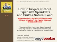 Plants Hydrated Without Irrigation – Build Natural Pond