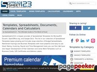 Excel Templates, Spreadsheets, Calendars and Calculators by Spreadsheet123