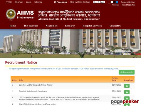 Faculty recruitment in AIIMS Bhubaneswar