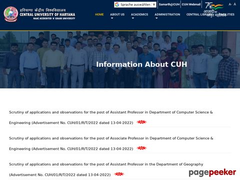 Non-Teaching Vacancy Recruitment in Central University of Haryana 2019