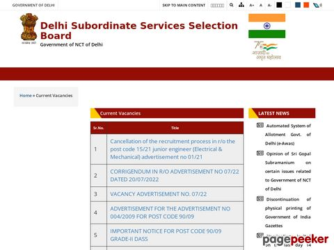 Delhi Government Jobs Vacancy Recruitment by DSSSB Advt. No. 01/2020