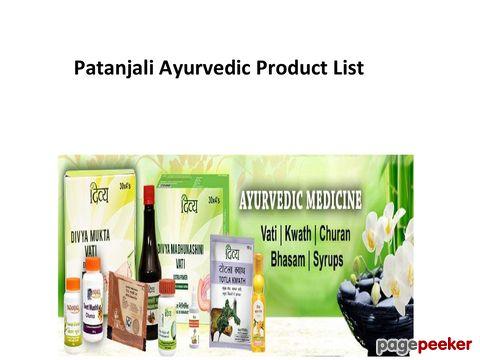 Patanjali Ayurvedic Medicine Products List PDF