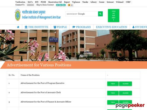 Experienced Non-Teaching vacancy recruitment in IIM Amritsar 2020