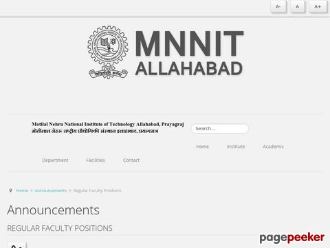Recruitment for Assistant Professor Faculty Vacancy in Motilal Nehru National Institute of Technology (MNNIT) Allahabad at Prayagraj