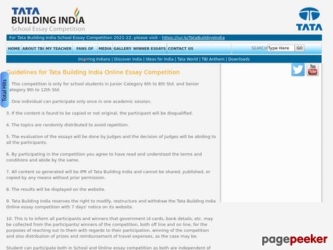 Tata Building India Online Essay Competition 2018-19  �� Details and Application Format? What is the last date? Selection Criteria? Application Fee? How to Apply?