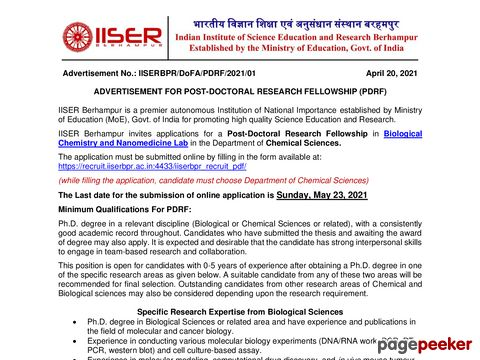 IISER Berhampur Post Doctoral Research Fellowship in Biological Chemistry and Nanomedicine 2021 �� Details and Application Format? What is the last date? Selection Criteria? Application Fee? How to Apply? educratsweb.com