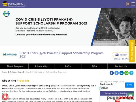 COVID Crisis (Jyoti Prakash) Support Scholarship Program 2021 �� Details and Application Format? What is the last date? Selection Criteria? Application Fee? How to Apply? educratsweb.com