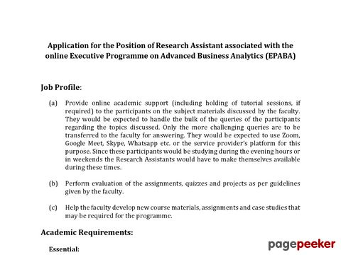 IIM Ahmedabad Research Assistantship (EPABA) 2021  �� Details and Application Format? What is the last date? Selection Criteria? Application Fee? How to Apply? educratsweb.com