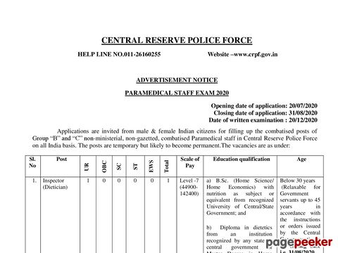 Recruitment of Para-Medical Staff vacancy in CRPF 2020