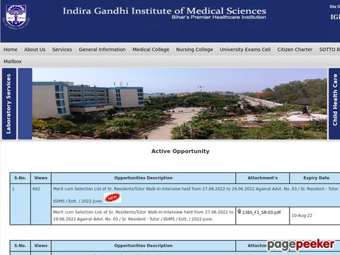 Recruitment for Faculty Vacancy in Indira Gandhi Institute of Medical Sciences (IGIMS), Patna (Bihar)