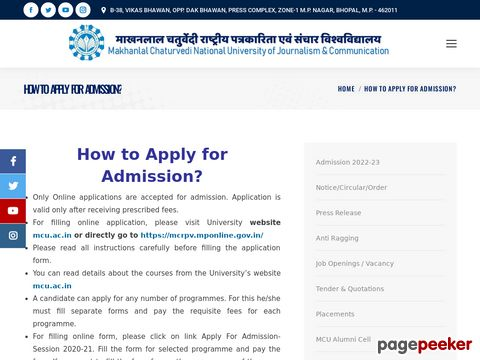 Makhanlal Chaturvedi University Admissions 2020 begin, apply before July 31 �� Details and Application Format? What is the last date? Selection Criteria? Application Fee? How to Apply? educratsweb.com