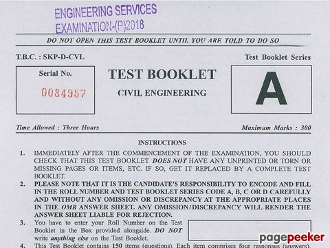 Engineering Services (Preliminary) Examination, 2018 Civil Engineering Paper