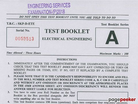 Engineering Services (Preliminary) Examination, 2018 Electrical Engineering Paper