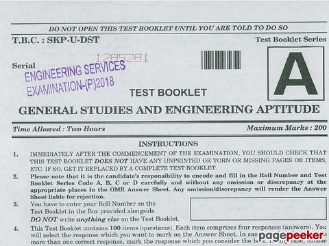 Engineering Services (Preliminary) Examination, 2018 General Studies and Engineering Aptitude Paper
