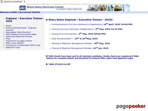 Recruitment of Engineer/Executive Trainees in BHEL