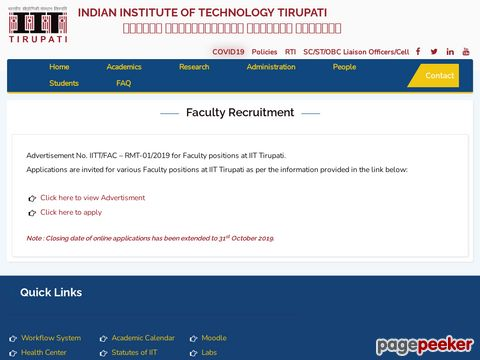 Recruitment of Faculty Vacancy in IIT Tirupati 2019