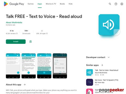 Talk FREE - Text to Voice - Read aloud Abast Multimèdia
