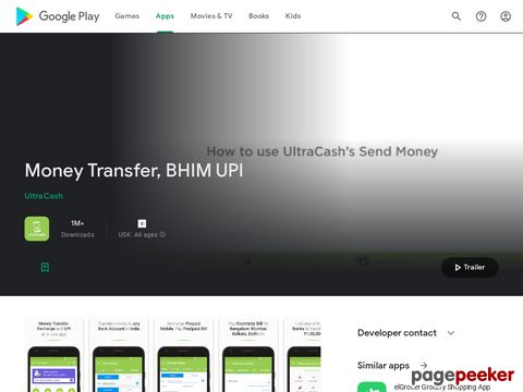 Money Transfer India, BHIM UPI app, Recharge & Pay UltraCash