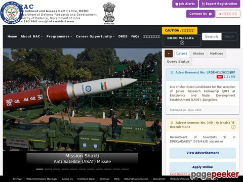 Recruitment of Scientists in DRDO 2019