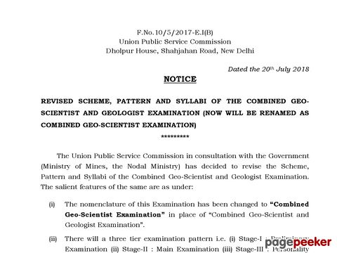 Revised Scheme, Pattern and Syllabi of Combined Geo-Scientist Examination from the year 2020