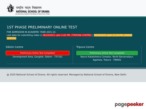 Admission Process Started in National School of Drama for Bangaluru, Sikkim, Tripura & Varanasi Centre
