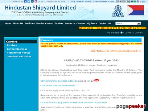 Recruitment of Managers and Medical Officers vacancy in Hindustan Shipyard