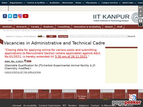 Non-Teaching Government Jobs in IIT Kanpur 2020