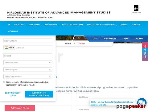 JOBS IN KIRLOSKAR INSTITUTE OF ADVANCED MANAGEMENT STUDIES