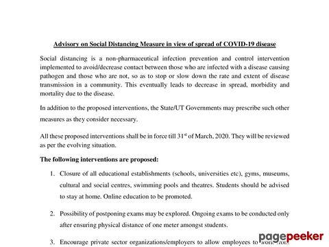 Advisory - Social Distancing