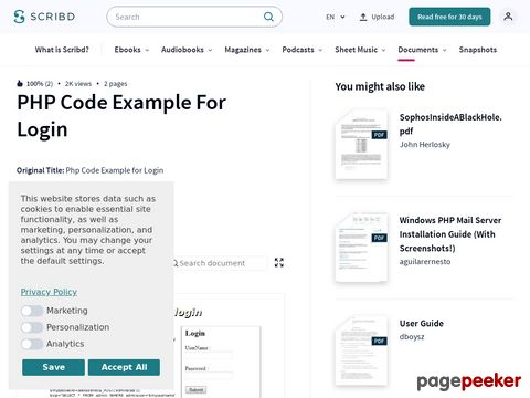 Php Code Example for Login