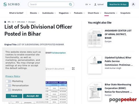 LIST OF SUB DIVISIONAL OFFICER POSTED IN BIHAR