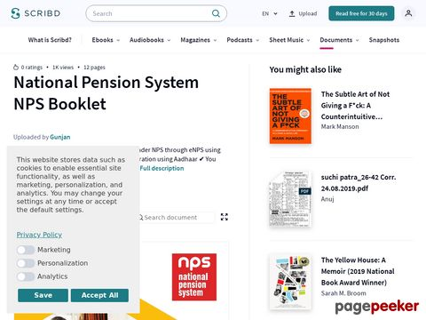 National Pension System NPS Booklet