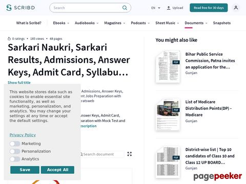 Sarkari Naukri, Sarkari Results, Admissions, Answer Keys, Admit Card, Syllabus & Free Online Government Jobs Preparation with Mock Test and Previous Year Questions #educratsweb