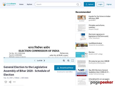 General Election to the Legislative Assembly of Bihar 2020 - Schedule of Election