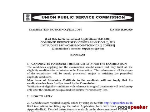 UPSC Combined Defence Services Examination (CDS) (I) 2021