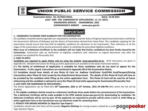 Engineering Services Examination (ESE) 2022 by UPSC