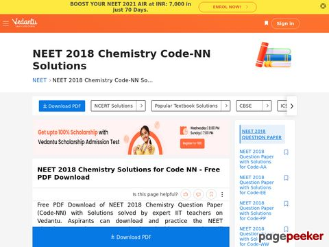 NEET 2018 Chemistry Question Paper with Solutions for Code-NN