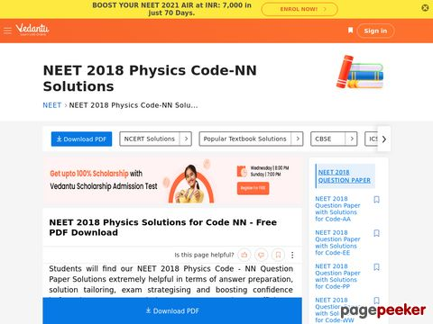 NEET 2018 Physics Question Paper with Solutions for Code-NN